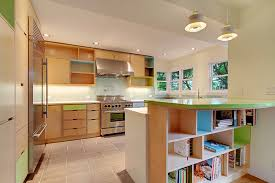 Wonderful Kerf Cabinets With Book Rack On Tile Floor For Kitchen Decor Ideas