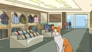 An Orange And White House Cat With Inside A Clothing Shop For Men Background