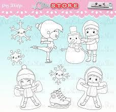 Chibi Winter Doodle Digital Stamps Ice Skating Snowflakes