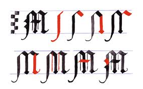 Gothic Writing Capital Letters A Z Letter M