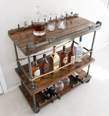 Rustic Bar Cart Industrial Pipe Wood Unique Bars In Wooden Inspirations 7