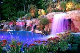 Waterfalls Landscaping Backyard Led Pool Waterfalls