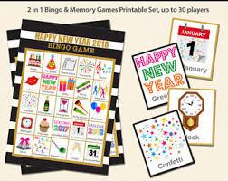 New Year Party Bingo Memory Game Printable 2