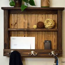 Rustic Wood Entryway Organizer Hall Foyer Keys Phone Mail Holder