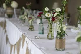 Rustic Wedding Flowers Long Tables