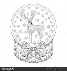 Vector Zentangle Christmas Snow Globe With Reindeer Snowflake Hand Drawn Snowglobe For Adult Coloring Book Pages Art Therapy Illustration New Year