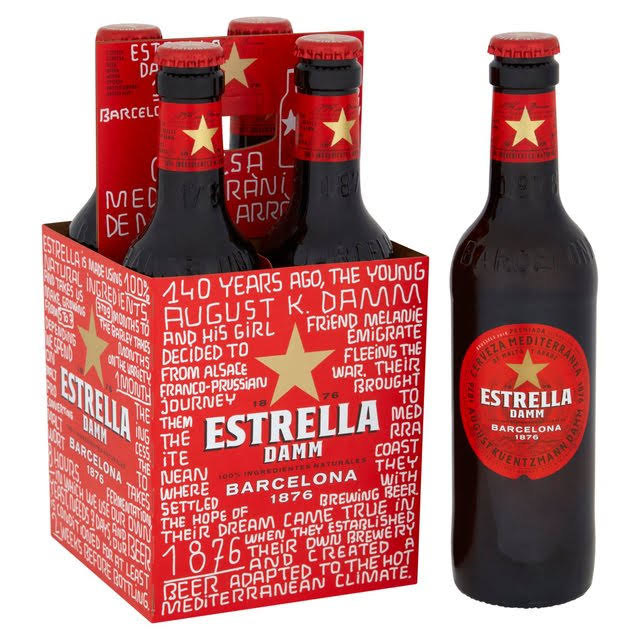 Estrella Damm Lager Bottle - 330ml, 4pk