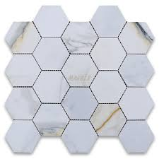 calacatta gold 3 inch hexagon mosaic tile polished marble from