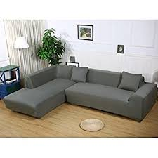 Stretch Slipcovers For Sofa by Amazon Com Universal Sofa Covers For L Shape 2pcs Polyester