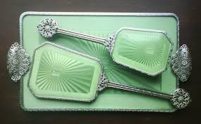 Vanity Mirror Dresser Set by Vintage 1930 U0027s Art Deco Green Guilloche Hair Brush U0026 Mirror Vanity