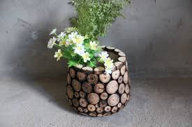 Rustic Fir Wood Chip Vase