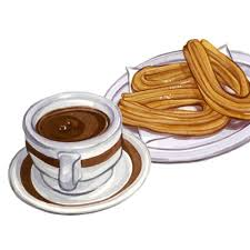 churros con chocolate illustration watercolours hotchocolate