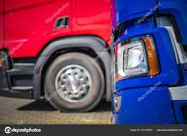 100 Pre Owned Trucks For Sale New Closeup Photo Blue Red Euro Stock Photo