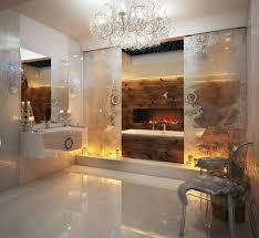 luxury bathroom showers brown finish varnished wooden vanity