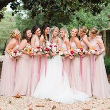 Floor Length Convertible Blush Bridesmaid Dresses