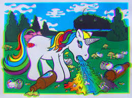 The Original Version Of Rainbow Vomiting Unicorn Was An Animated That Apparently Meant To Be Viewed With 3D Glasses