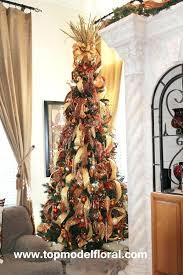 Tall Thin Christmas Tree Rust Gold Slim Line Red Green Ideas Skinny