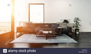 modernes wohnzimmer mit sofa mit kissen bedeckt und