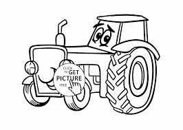 Cute Cartoon Tractor Coloring Page For Kids Transportation Pages Printables Free