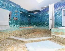 bathroom blue glass border tiles pictures decorations