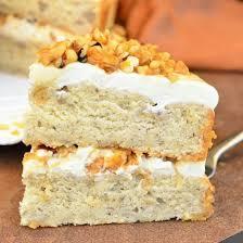 Amazing Caramel Banana Nut Cake made with soft moist banana cake