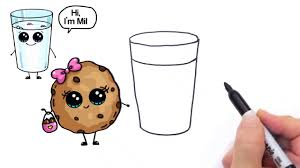 How to Draw Cartoon Milk and Chocolate Chip Cookies Cute and easy