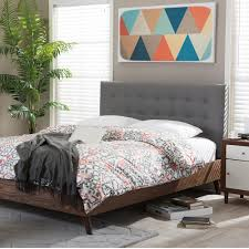 Baxton Studio Alinia Medium Brown and Gray Queen Upholstered Bed