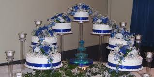 White And Blue Rustic Wedding Cake