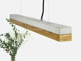 details zu edle pendelleuchte led aus beton holz 92cm lang dimmbar handmade esszimmer le