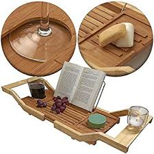 amazon com bamboo bathtub caddy with arms that extend from 29 5