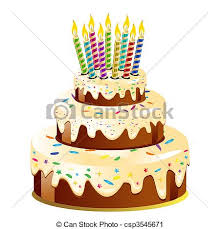Birthday cake and candle Vector Illustration