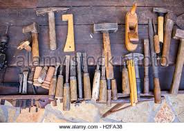 traditional old woodworking tools chisels in rack canada stock