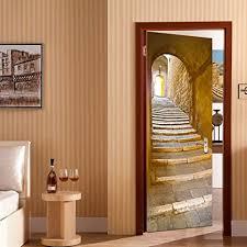 rocwart 3d tür wandbild für wohnzimmer kinder baby kinder abnehmbares vinyl alte holztür wandaufkleber kunst heimdekoration 30 3 x 78 7 cm