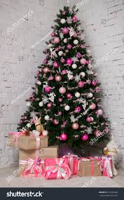 Great Beautifully Decorated Christmas Tree With Pink Baubles Ribbons Snowflakes And A Lot