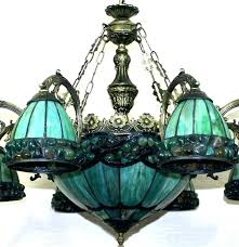 Chandelier Stained Glass Light Fixtures Dining Room Luxury Creative Style Green L