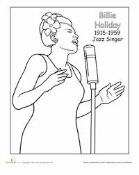 Billie Holiday Coloring Page Seasons WorksheetsArt WorksheetsColoring WorksheetsHistory