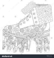 Coloring Page Adults Christmas Shoe Art Stock Vector 738732124