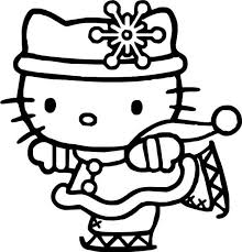 Hello Kitty Ice Skating Coloring Pages For Kids Printable