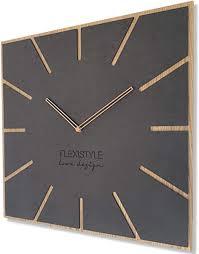 flexistyle moderne große wanduhr exact eco 50cm stille wohnzimmer schlafzimmer made in eu schwarz antracyt holz eiche