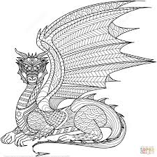 Adults Dragon Colouring And Zentangle Coloring Page At Hard Pages Glum