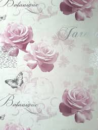 Shabby Chic Pink Roses Butterflies Floral Flower Vintage Feature Wallpaper