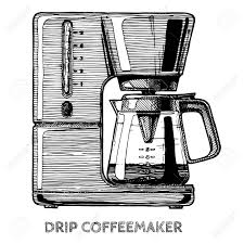 Drip Coffeemaker Vector Hand Drawn Illustration Of Coffee Machine In Vintage Engraved Style Isolated