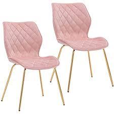 duhome 2er set esszimmerstuhl aus stoff samt polsterstuhl retro design mit rückenlehne metallbeine gold farbauswahl 5180x1 farbe hellrosa