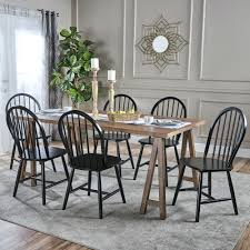 Farmhouse Cottage 7 Piece Wood Dining Set By Knight Home ...