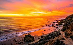 Sunset On Malibu Beach California