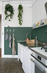 A Half Painted Dark Green Wall Is Used As Backsplash And Adds Colorful