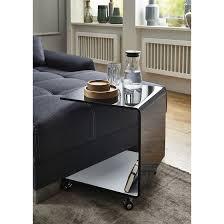 beistelltisch couchtisch glastisch bento5 auf rollen schwarz weiß