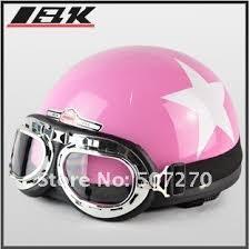 C03 ABS Half Face Bol Vespa Motorcycle Pink White Star Helmet Motorbike