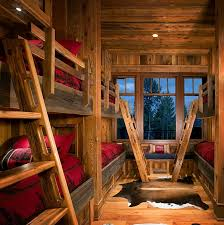 Amusing Rustic Wooden Cabin With Classic Home Accessories Awesome Kids Room Bunk Beds On