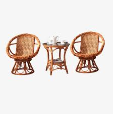 Balcony Furniture Rattan Chair Three Piece Leisure Outdoor PNG And PSD